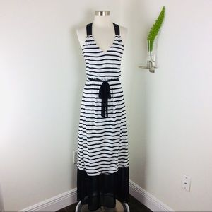 Express Gorgeous Striped Belted Maxi Dress Size S
